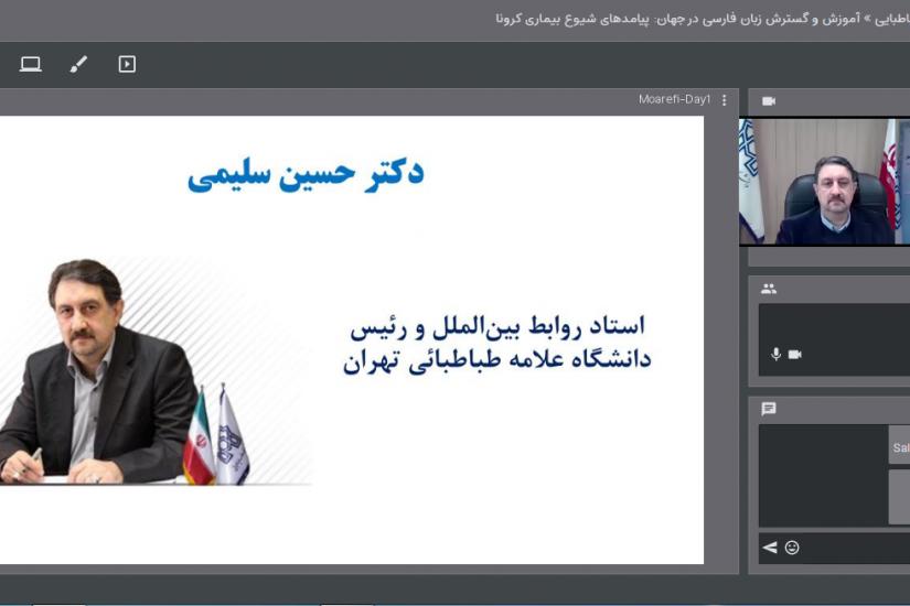 حسین سلیمی وبینار گسترش زبان فارسی